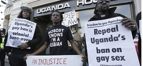Protesters outside Ugandan embassy in central London in 2009
