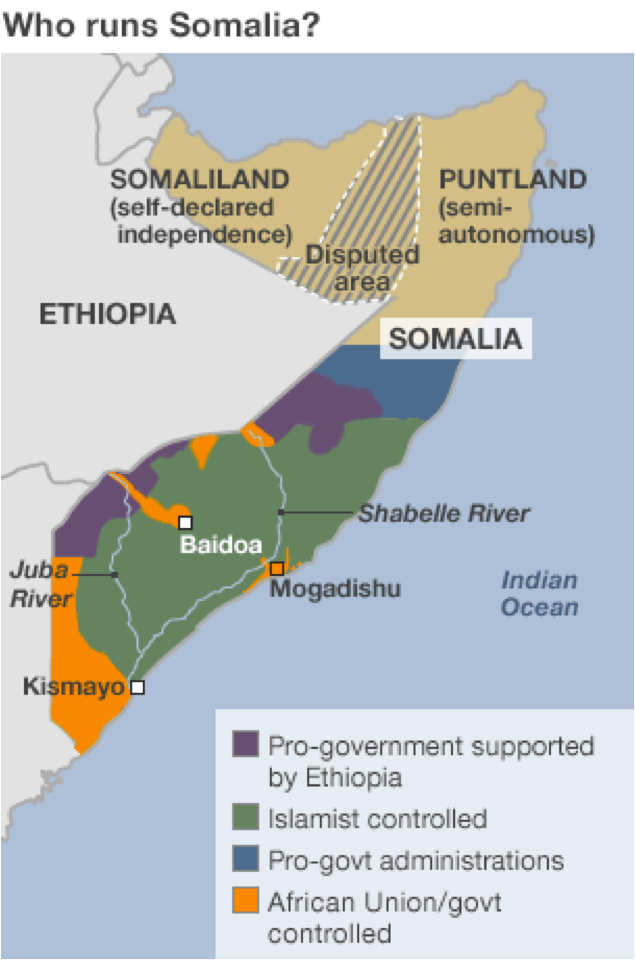 Map of Recent Violence in Somalia
