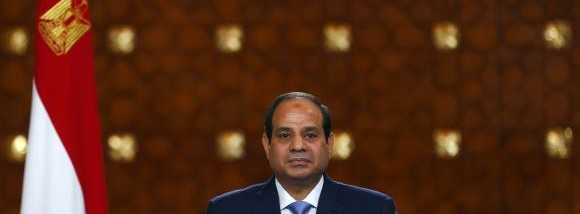 Egypt's President Abdel Fattah al-Sisi speaks during a news conference at the presidential palace in Cairo