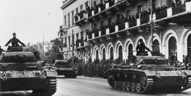 German Tanks Rumbling Through Streets